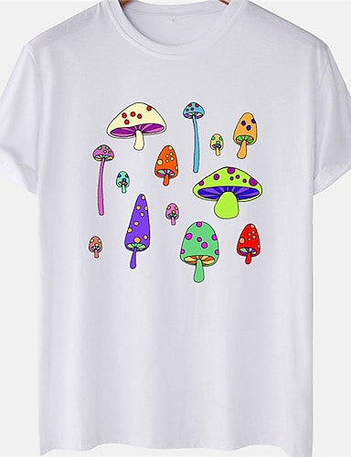 cheap Graphic Tees-Men's Unisex Tee T shirt Hot Stamping Mushroom Plus Size Short Sleeve Casual Tops 100% Cotton Basic Designer Big and Tall White Black Yellow