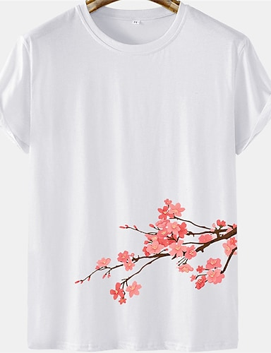 cheap Graphic Tees-Men's Unisex Tee T shirt Hot Stamping Floral Plus Size Short Sleeve Casual Tops 100% Cotton Basic Designer Big and Tall White Black Khaki