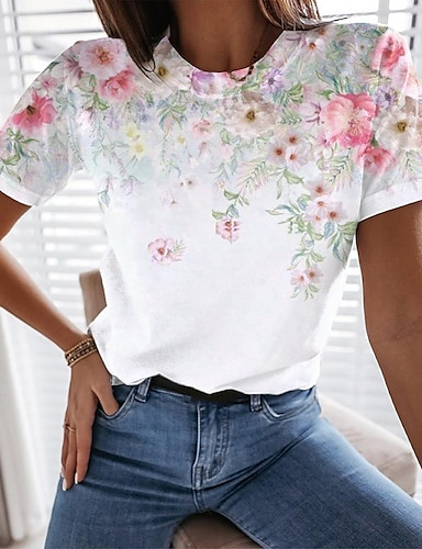 cheap Women's Tops-Women's Floral Theme Painting T shirt Floral Graphic Print Round Neck Basic Tops White
