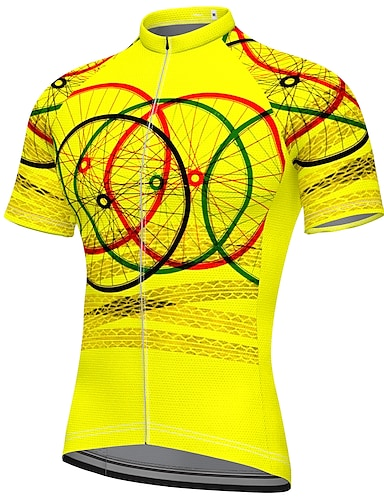 cheap Sports & Outdoors-21Grams Men's Short Sleeve Cycling Jersey Summer Spandex Polyester Blue Yellow Blushing Pink Bike Jersey Top Mountain Bike MTB Road Bike Cycling Quick Dry Moisture Wicking Breathable Sports Clothing