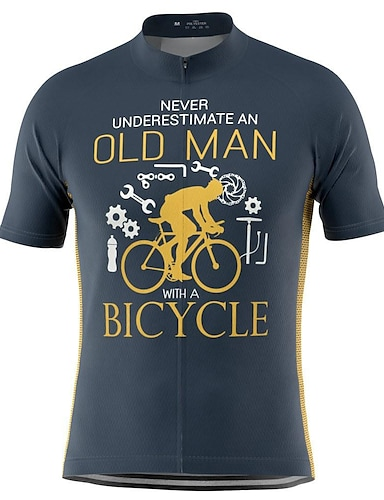 cheap Sports & Outdoors-21Grams Old Man Men's Short Sleeve Cycling Jersey Summer Polyester Blue Yellow Bike Jersey Top Mountain Bike MTB Road Bike Cycling Quick Dry Moisture Wicking Breathable Sports Clothing Apparel