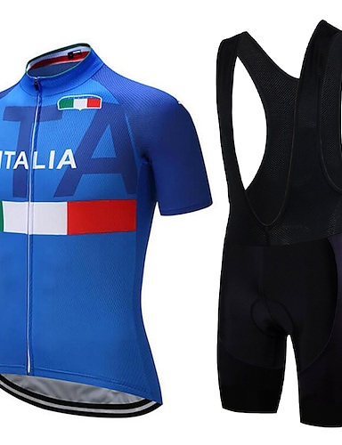 cheap Sports & Outdoors-21Grams Italy National Flag Men's Short Sleeve Cycling Jersey with Bib Shorts - Blue+White Bike Clothing Suit Anatomic Design Quick Dry Moisture Wicking Sports Summer Terylene Polyester Taffeta