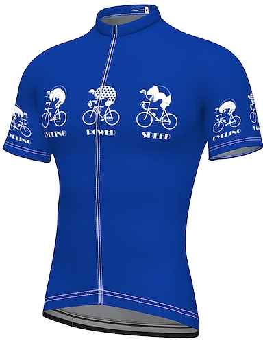 cheap Sports & Outdoors-21Grams Men's Short Sleeve Cycling Jersey Summer Spandex Polyester Blue Bike Jersey Top Mountain Bike MTB Road Bike Cycling Quick Dry Moisture Wicking Breathable Sports Clothing Apparel / Athleisure