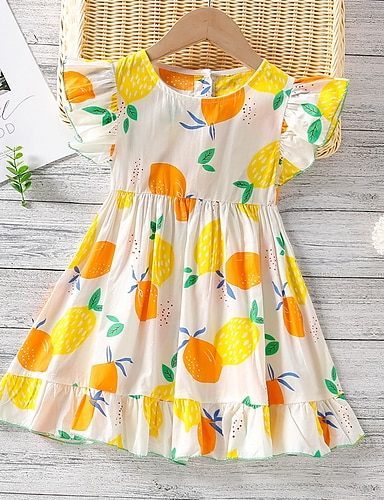 cheap Girls' Clothing-Kids Little Girls' Dress Fruit Print White Knee-length Short Sleeve Basic Dresses Summer Regular Fit 3-8 Years