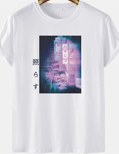 cheap Graphic Tees-Men's Unisex Tee T shirt Hot Stamping City Landscape Plus Size Short Sleeve Casual Tops 100% Cotton Basic Designer Big and Tall White Blushing Pink Khaki