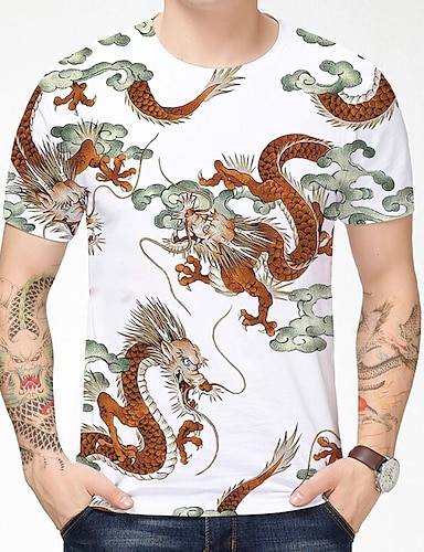cheap Men's Clothing-Men's T shirt Shirt 3D Print Dragon Graphic Graphic Prints 3D Print Short Sleeve Daily Tops Chinese Style Casual Round Neck Deep Blue Red / White / Summer