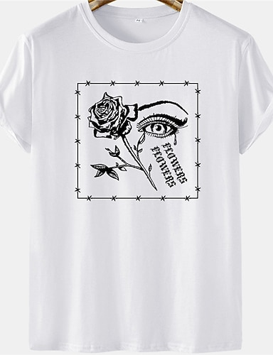 cheap Graphic Tees-Men's Unisex Tee T shirt Hot Stamping Eye Rose Letter Plus Size Short Sleeve Casual Tops 100% Cotton Basic Designer Big and Tall White Yellow Khaki