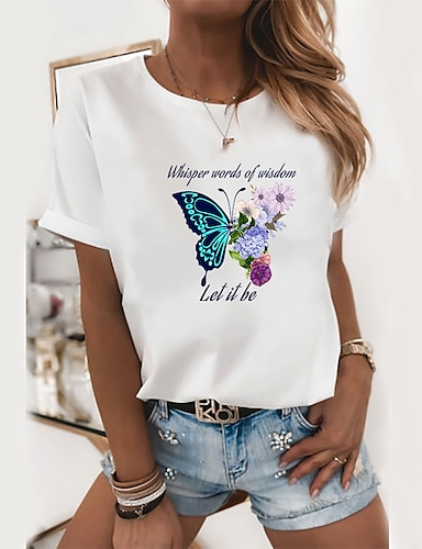 cheap Graphic Tees-Women's T shirt Floral Butterfly Text Print Round Neck Tops 100% Cotton Basic Basic Top White