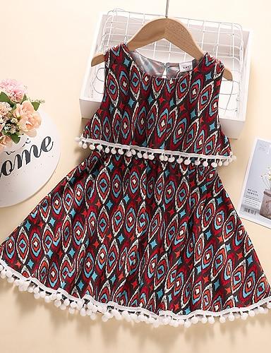 cheap Girls' Clothing-Kids Little Girls' Dress Graphic Print Red Knee-length Sleeveless Active Dresses Summer Regular Fit 2-6 Years