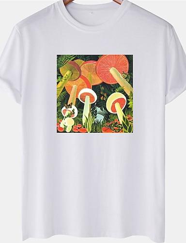 cheap Graphic Tees-Men's Unisex Tee T shirt Hot Stamping Mushroom Plus Size Short Sleeve Casual Tops 100% Cotton Basic Designer Big and Tall White Black Blushing Pink