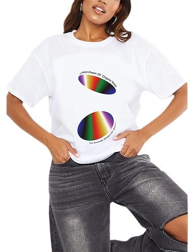 cheap Graphic Tees-Women's T shirt Rainbow Graphic Geometric Print Round Neck Tops 100% Cotton Basic Basic Top White Black