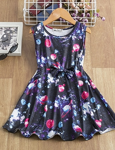 billiga Flickkläder-Barn Liten Flickor Klänning Galax Rosett Tryck Marinblå Knälång Ärmlös Aktiv Klänningar Sommar Normal 5-12 år