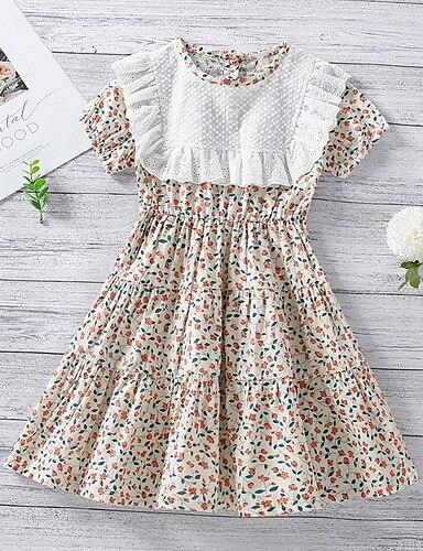 cheap Girls' Clothing-Kids Little Girls' Dress Graphic Print Beige Knee-length Short Sleeve Basic Dresses Summer Regular Fit 3-8 Years