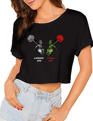 cheap Graphic Tees-Women's Crop Tshirt Floral Letter Print Round Neck Tops 100% Cotton Basic Basic Top Black