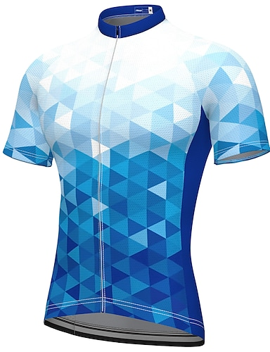 cheap Sports & Outdoors-21Grams Men's Short Sleeve Cycling Jersey Summer Spandex Polyester Blue Fluorescent Bike Jersey Top Mountain Bike MTB Road Bike Cycling Quick Dry Moisture Wicking Breathable Sports Clothing Apparel
