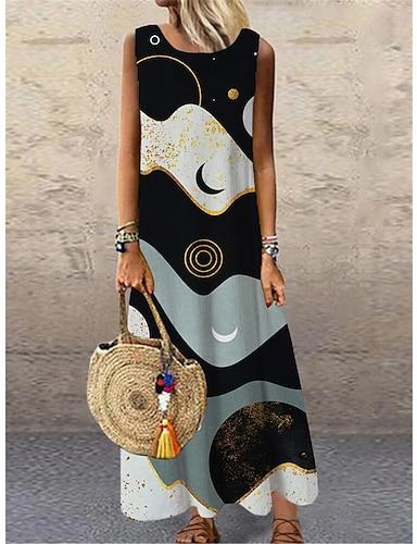 cheap Women's Clothing-Women's Shift Dress Maxi long Dress Black Sleeveless Print Color Block Print Spring Summer Round Neck Casual 2021 S M L XL XXL 3XL