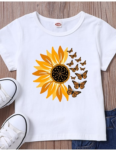 cheap Girls' Clothing-Kids Girls' T shirt Tee Short Sleeve Butterfly Sun Flower Graphic White Black Children Tops Summer Basic Daily Wear