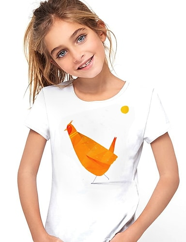 cheap Girls' Clothing-Kids Girls' T shirt Short Sleeve Animal White Children Tops Summer Active Daily Wear Regular Fit 4-12 Years