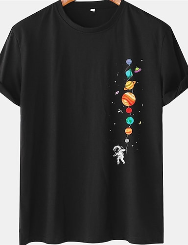 cheap Graphic Tees-Men's Unisex Tee T shirt Hot Stamping Graphic Prints Astronaut Planet Plus Size Short Sleeve Casual Tops 100% Cotton Basic Designer Big and Tall Black