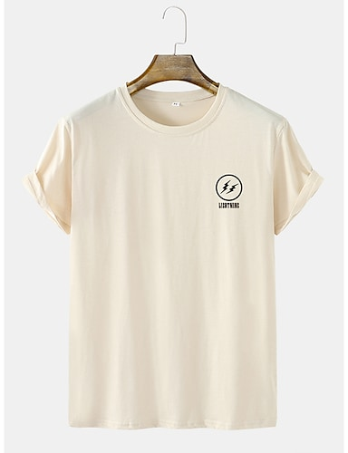 cheap Graphic Tees-Men's Unisex Tee T shirt Hot Stamping Lightning Graphic Prints Letter Plus Size Short Sleeve Casual Tops Cotton Basic Fashion Designer Comfortable White Green Beige