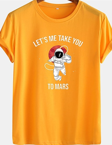 cheap Graphic Tees-Men's Unisex Tee T shirt Hot Stamping Graphic Prints Astronaut Letter Plus Size Short Sleeve Casual Tops 100% Cotton Basic Designer Big and Tall Black Blue Yellow