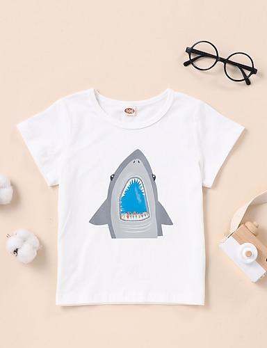 cheap Graphic Tees-Kids Boys' T shirt Tee Short Sleeve Graphic White Black Children Tops Summer Basic Daily Wear