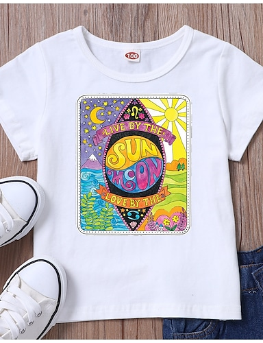 cheap Girls' Clothing-Kids Girls' T shirt Tee Short Sleeve Graphic White Black Children Tops Summer Basic Casual / Daily Daily Wear