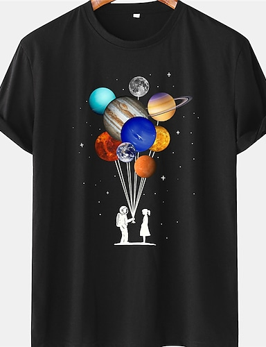 cheap Graphic Tees-Men's Unisex Tee T shirt Shirt Hot Stamping Graphic Prints Astronaut Planet Plus Size Short Sleeve Casual Tops 100% Cotton Basic Designer Big and Tall Blue Yellow Black / Summer