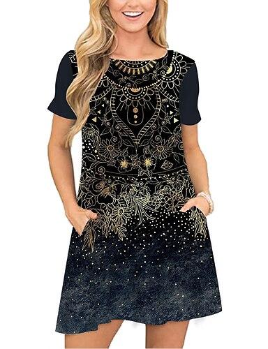 cheap Women's Clothing-Women's T Shirt Dress Tee Dress Short Mini Dress Black Short Sleeve Floral Print Pocket Print Spring Summer Round Neck Casual Holiday 2021 S M L XL XXL 3XL