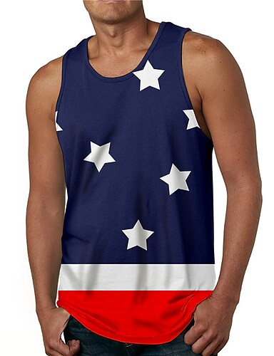 cheap Men's Clothing-Men's Tank Top Undershirt 3D Print Graphic Prints Flag Print Sleeveless Daily Tops Casual Designer Big and Tall Navy Blue
