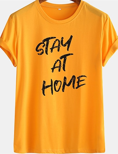 cheap Graphic Tees-Men's Unisex Tee T shirt Hot Stamping Graphic Prints Letter Plus Size Short Sleeve Casual Tops 100% Cotton Basic Designer Big and Tall White Blue Yellow