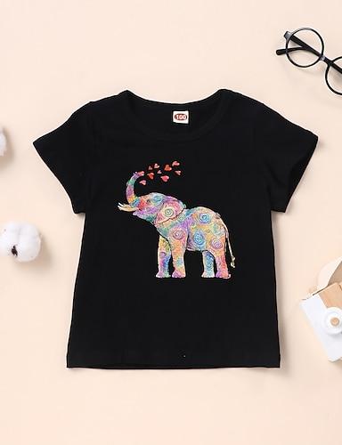 cheap Graphic Tees-Kids Boys' T shirt Tee Short Sleeve Graphic Elephant White Black Children Tops Summer Basic Daily Wear