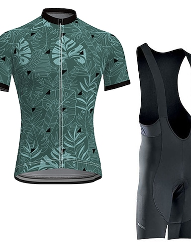 cheap Sports & Outdoors-Men's Short Sleeve Cycling Jersey with Bib Shorts Summer Elastane Polyester Forest Green Bike Sports Patterned Clothing Apparel