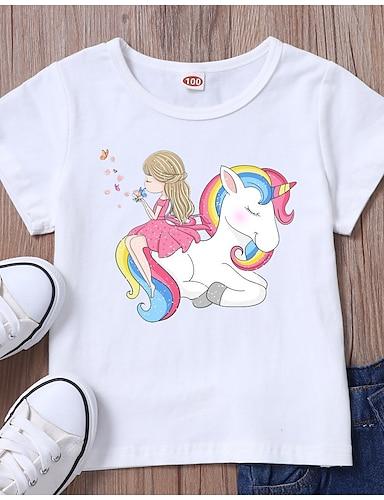 cheap Girls' Clothing-Kids Girls' T shirt Tee Short Sleeve Unicorn Graphic White Black Children Tops Summer Basic Daily Wear