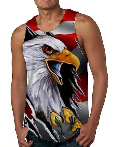 cheap Men's Clothing-Men's Tank Top Undershirt 3D Print Graphic Prints Eagle Print Sleeveless Daily Tops Casual Designer Big and Tall Gray