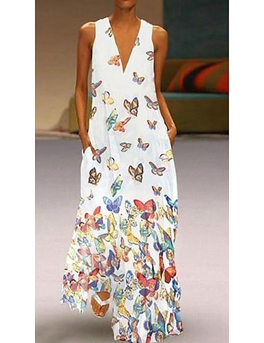 cheap Women's Clothing-Women's A Line Dress Maxi long Dress White Purple Yellow Blushing Pink Light Blue Sleeveless Butterfly Animal Print Summer Deep V Hot Casual 2021 S M L XL XXL 3XL 4XL 5XL / Plus Size