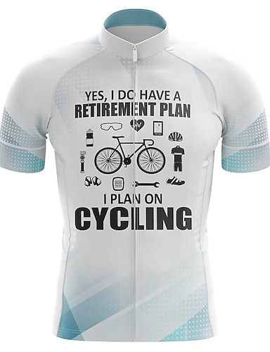 cheap Sports & Outdoors-21Grams Men's Short Sleeve Cycling Jersey Summer Spandex Polyester White Bike Jersey Top Mountain Bike MTB Road Bike Cycling Quick Dry Moisture Wicking Breathable Sports Clothing Apparel / Athleisure