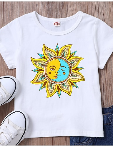 cheap Girls' Clothing-Kids Girls' T shirt Tee Short Sleeve Graphic White Black Children Tops Summer Basic Daily Wear