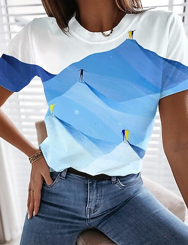 cheap Women's Clothing-Women's 3D Printed T shirt Scenery Color Block 3D Print Round Neck Tops Basic Basic Top Blue Yellow
