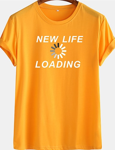 cheap Graphic Tees-Men's Unisex Tee T shirt Hot Stamping Graphic Prints Letter Plus Size Short Sleeve Casual Tops 100% Cotton Basic Designer Big and Tall Black Yellow Green