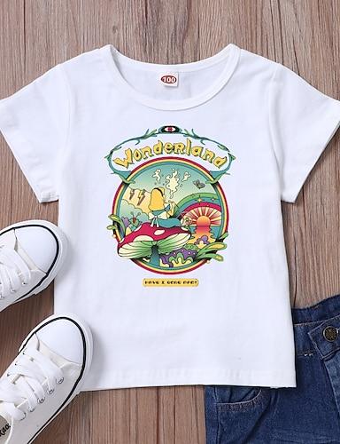 cheap Girls' Clothing-Kids Girls' T shirt Tee Short Sleeve Anime Graphic White Black Children Tops Summer Basic Casual / Daily Daily Wear