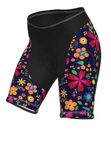 cheap Sports & Outdoors-21Grams Women's Cycling Shorts Summer Spandex Polyester Bike Shorts Pants Padded Shorts / Chamois 3D Pad Breathable Sports Floral Botanical Dark Navy Mountain Bike MTB Road Bike Cycling Clothing
