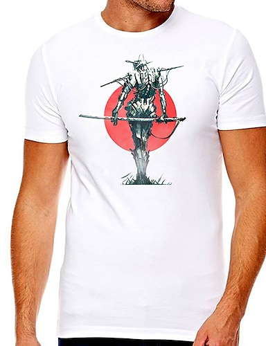 cheap Graphic Tees-Men's Unisex Tee T shirt Hot Stamping Graphic Prints Character Plus Size Print Short Sleeve Casual Tops Cotton Basic Designer Big and Tall White
