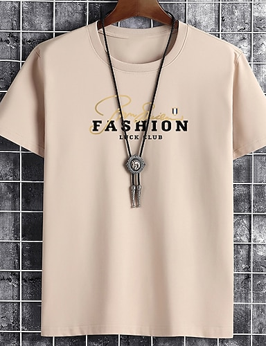 cheap Graphic Tees-Men's Unisex Tee T shirt Hot Stamping Graphic Prints Letter Plus Size Print Short Sleeve Casual Tops Cotton Basic Fashion Designer Big and Tall White Black Khaki