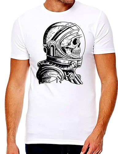 cheap Men's Clothing-Men's Unisex Tee T shirt Hot Stamping Graphic Prints Skull Plus Size Print Short Sleeve Casual Tops Cotton Basic Designer Big and Tall White