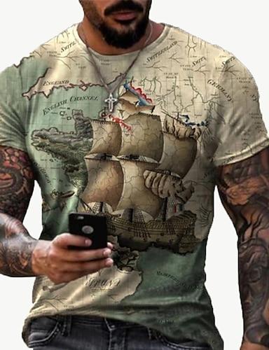 cheap Men's Clothing-Men's Tee T shirt Shirt 3D Print Map Graphic Prints Fingerprint Print Short Sleeve Daily Tops Casual Designer Big and Tall Round Neck Black / Gray Yellow Black / Summer