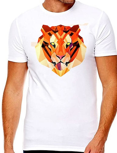cheap Graphic Tees-Men's Unisex Tee T shirt Hot Stamping Graphic Prints Tiger Plus Size Print Short Sleeve Casual Tops Cotton Basic Designer Big and Tall White