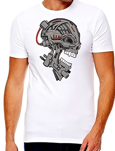 cheap Men's Clothing-Men's Unisex Tee T shirt Hot Stamping Graphic Prints Skull Plus Size Print Short Sleeve Casual Tops Cotton Basic Fashion Designer Big and Tall White