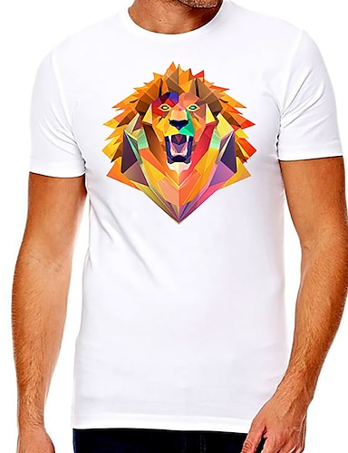 cheap Men's Clothing-Men's Unisex Tee T shirt Hot Stamping Cartoon Graphic Prints Lion Plus Size Print Short Sleeve Casual Tops Cotton Basic Fashion Designer Big and Tall White
