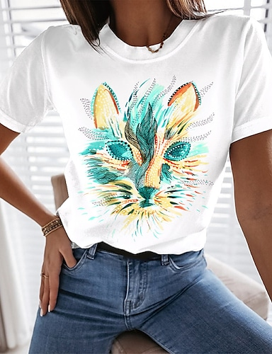 cheap Women's Clothing-Women's Cat Abstract Painting T shirt Cat Animal Print Round Neck Basic Tops Blue Blushing Pink Green